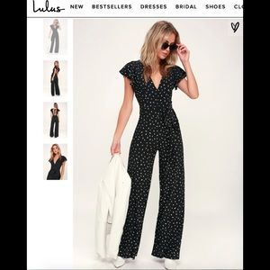 Black Jumpsuit with minimal white pattern